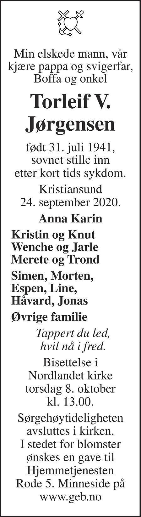 Torleif Valdemar Jørgensen Dødsannonse