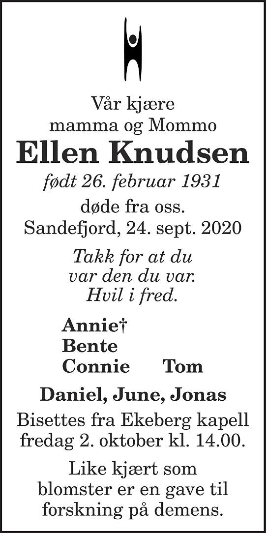 Ellen Knudsen Dødsannonse