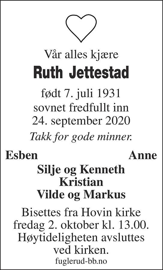 Ruth Johanne Jettestad Dødsannonse