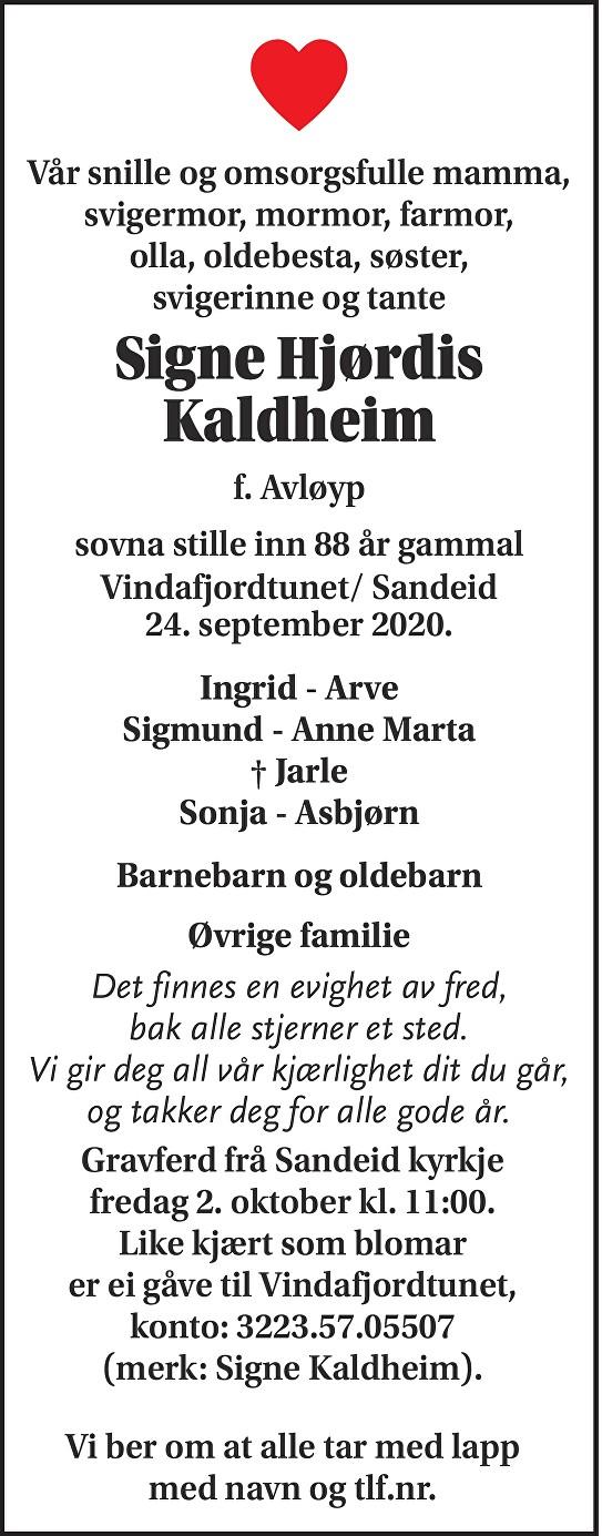Signe Hjørdis Kaldheim Dødsannonse