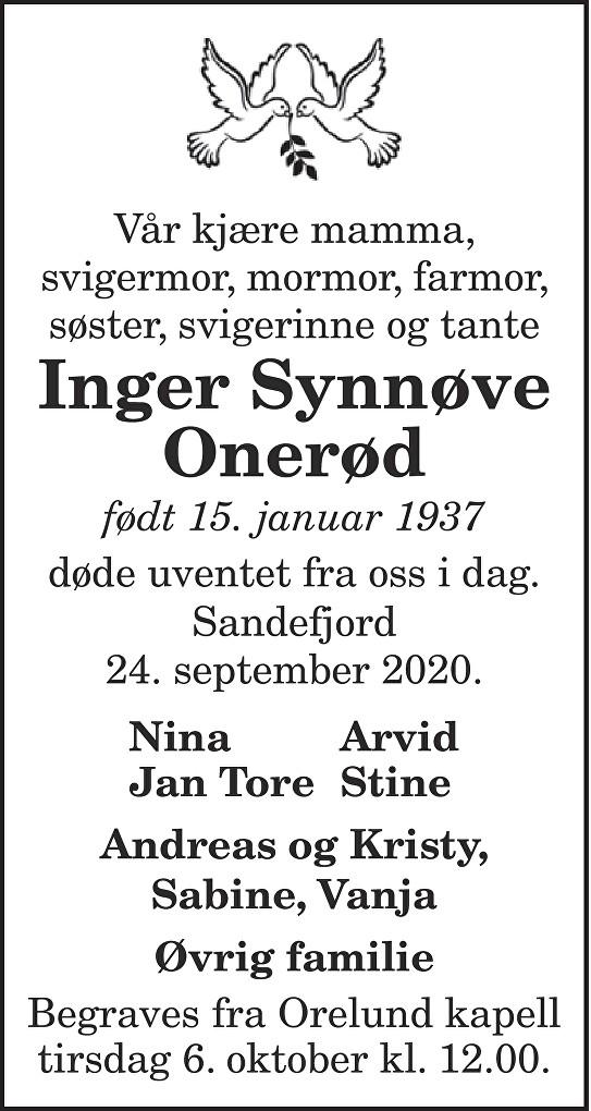Inger Onerød Dødsannonse