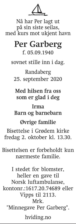 Per Garberg Dødsannonse