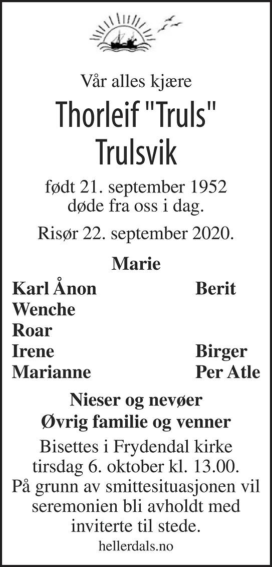 Thorleif Trulsvik Dødsannonse