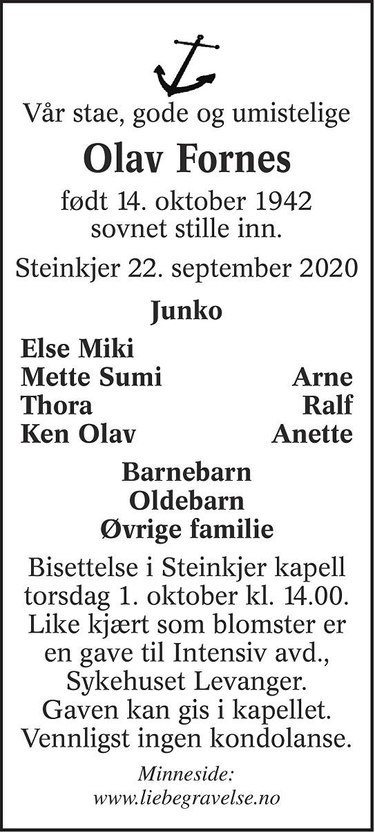 Olav Fornes Dødsannonse