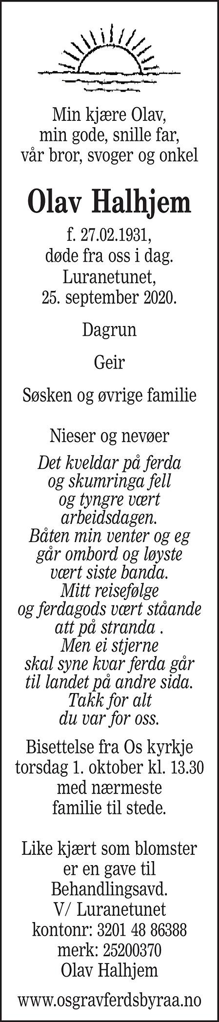 Olav Halhjem Dødsannonse