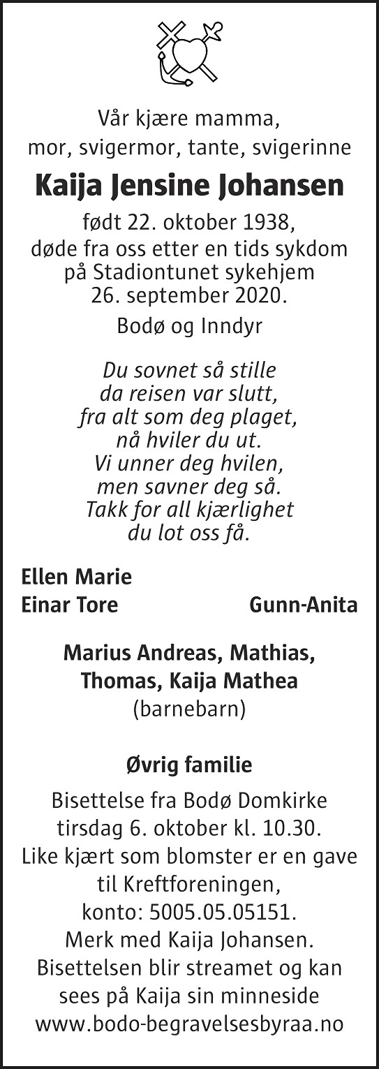 Kaija Jensine Johansen Dødsannonse