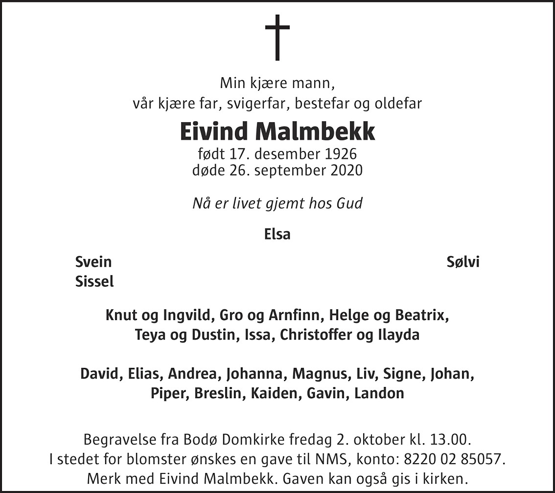 Eivind Malmbekk Dødsannonse