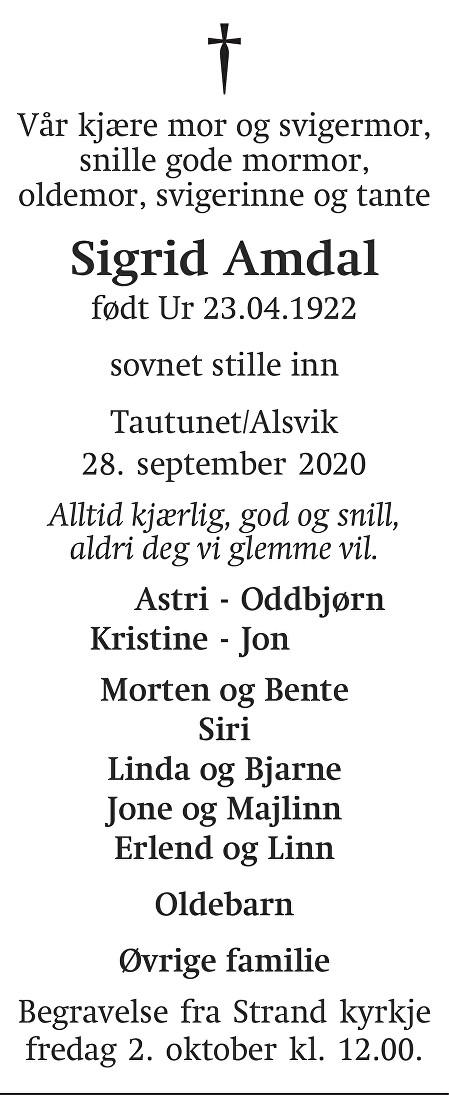 Sigrid Amdal Dødsannonse