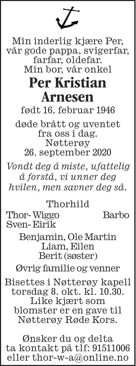 Per Kristian Arnesen Dødsannonse