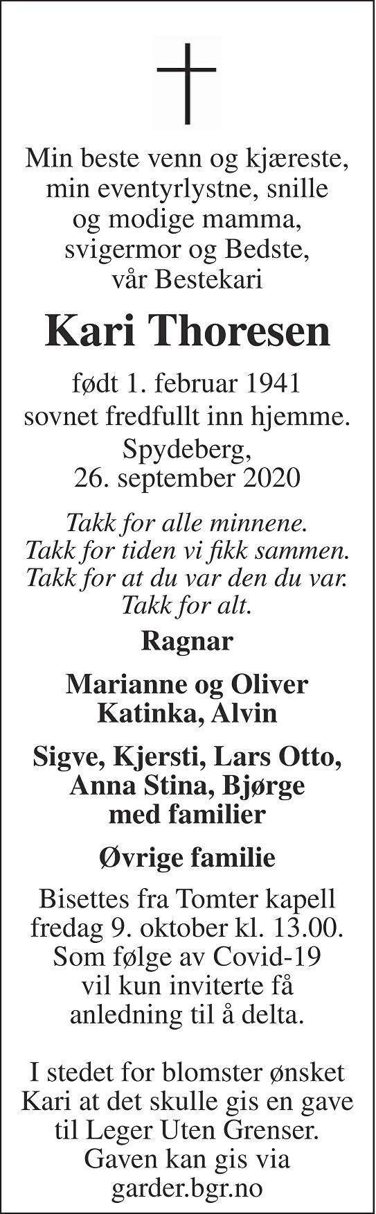 Kari Thoresen Dødsannonse