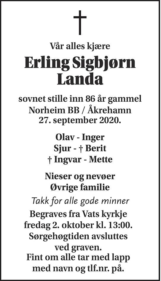 Erling Sigbjørn Landa Dødsannonse