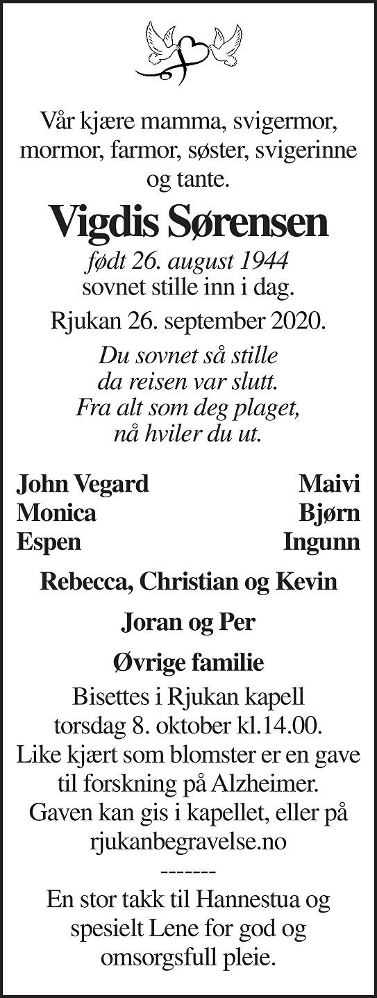 Vigdis Sørensen Dødsannonse