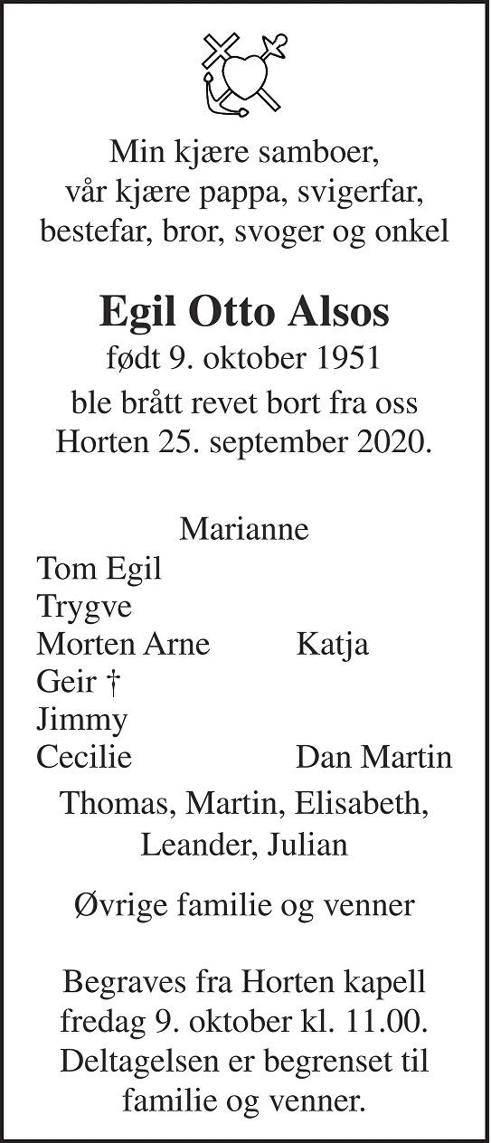 Egil Otto Alsos Dødsannonse
