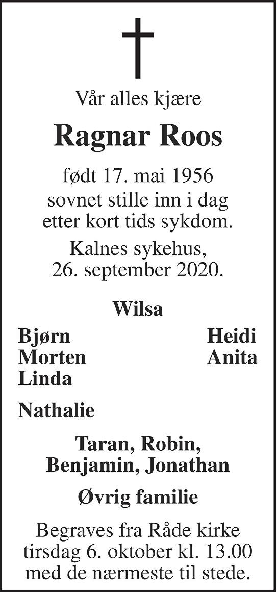 Ragnar Roos Dødsannonse