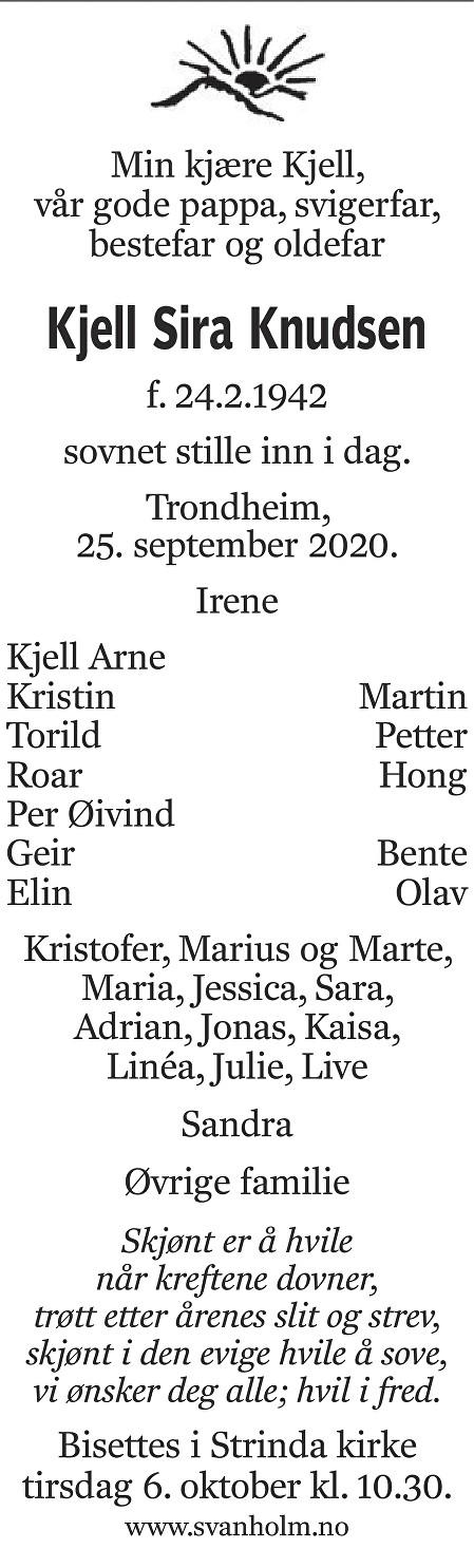 Kjell Sira Knudsen Dødsannonse