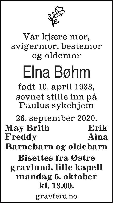 Elna Bøhm Dødsannonse