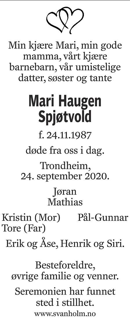 Mari Haugen Spjøtvold Dødsannonse
