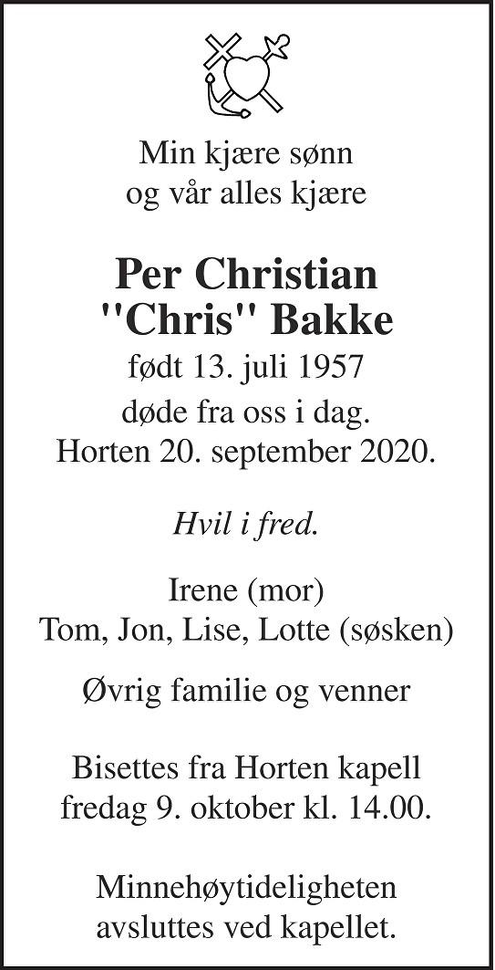 Per Christian Bakke Dødsannonse
