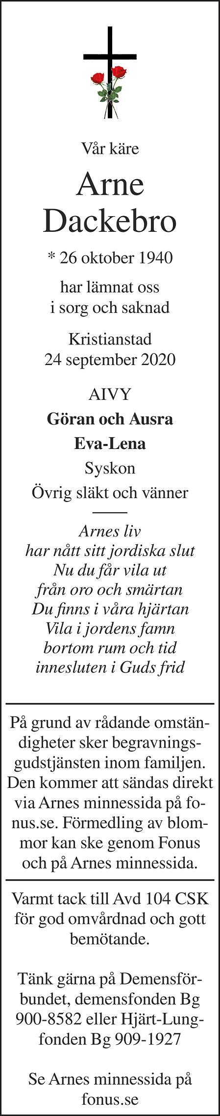 Arne Dackebro Death notice