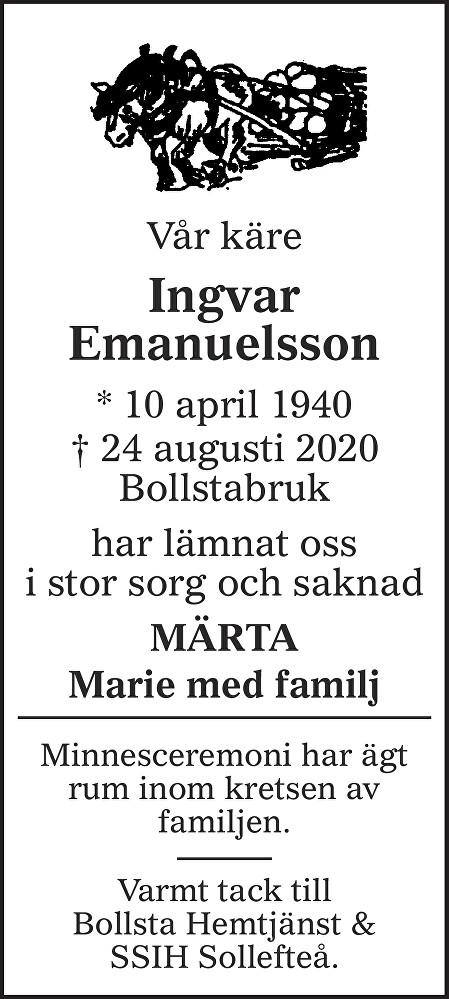 Ingvar Emanuelsson Death notice