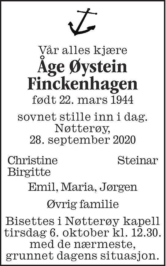 Åge Øystein Finckenhagen Dødsannonse
