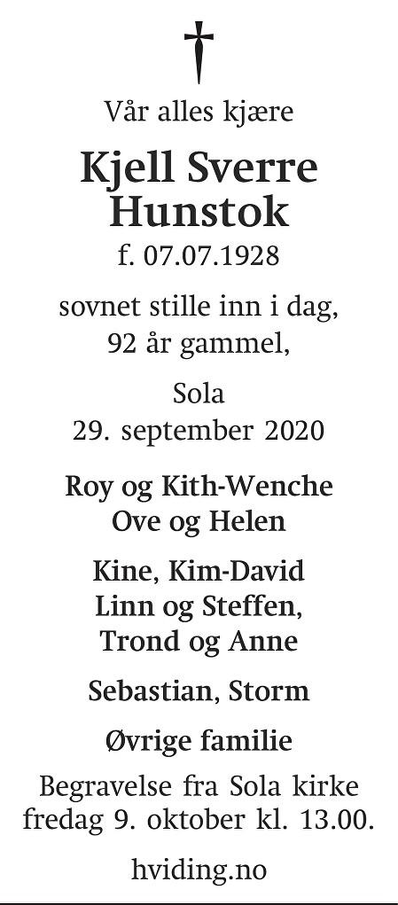 Kjell Sverre Hunstok Dødsannonse