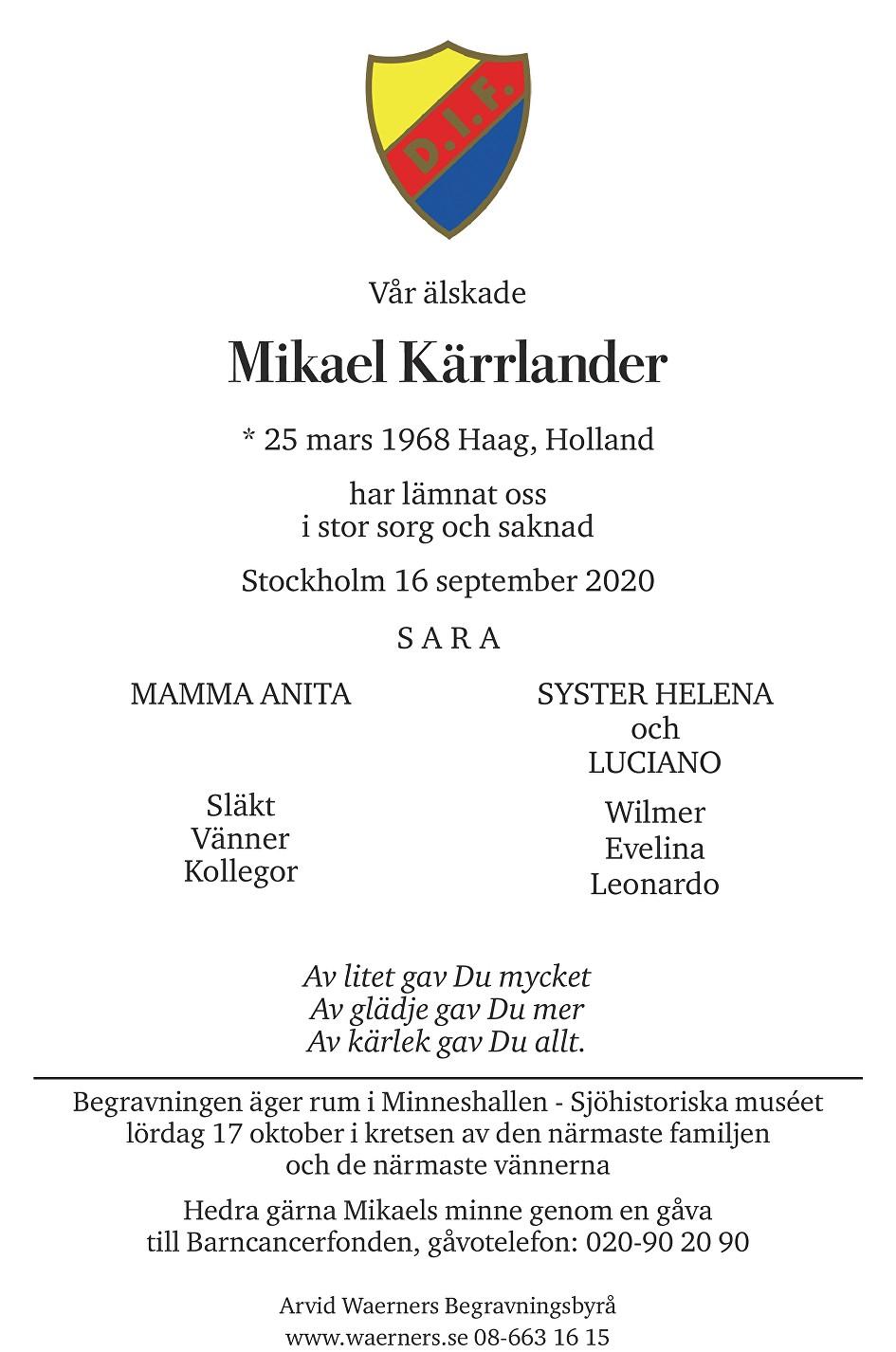 Mikael Kärrlander Death notice