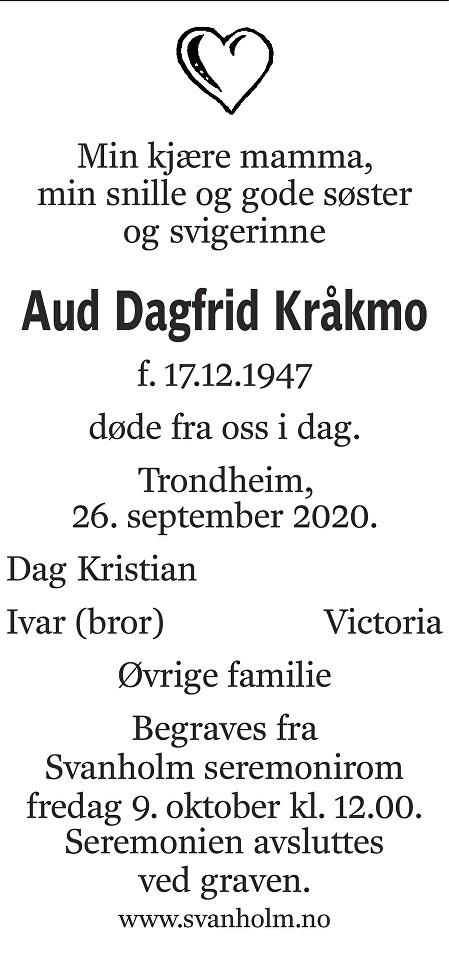 Aud Dagfrid Kråkmo Dødsannonse
