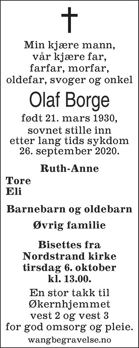 Olaf Borge Dødsannonse
