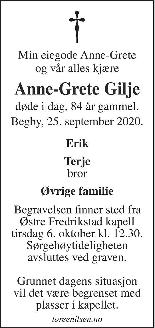 Anne-Grete Gilje Dødsannonse