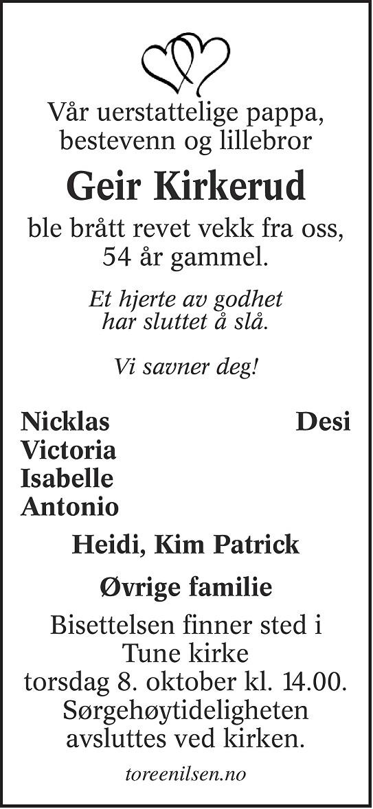 Geir Kirkerud Dødsannonse