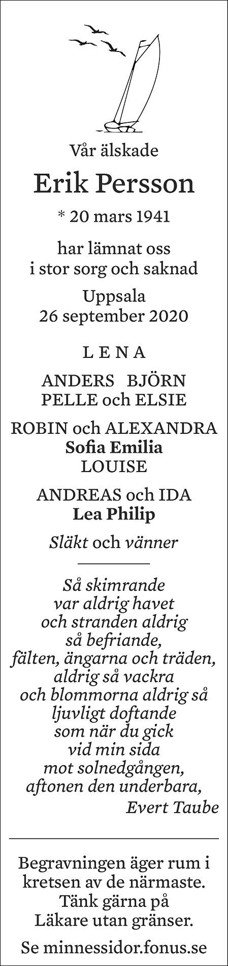 Erik Persson Death notice
