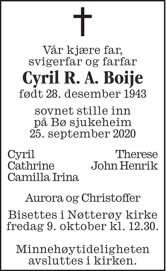 Cyril Raoul August Boije Dødsannonse