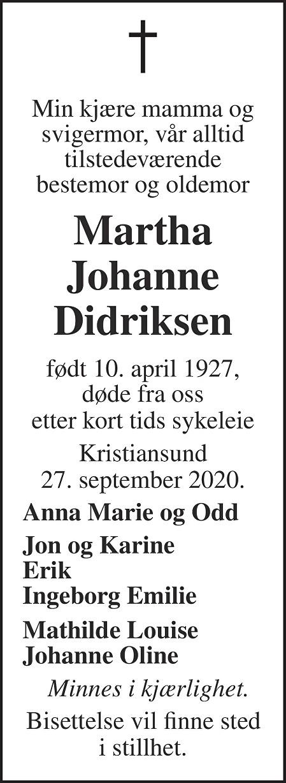 Martha Johanne Didriksen Dødsannonse