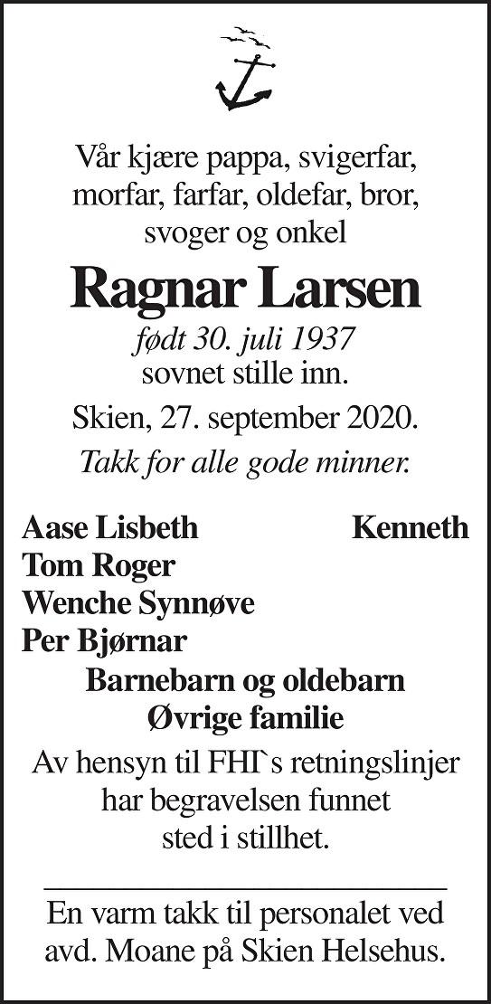 Ragnar Larsen Dødsannonse
