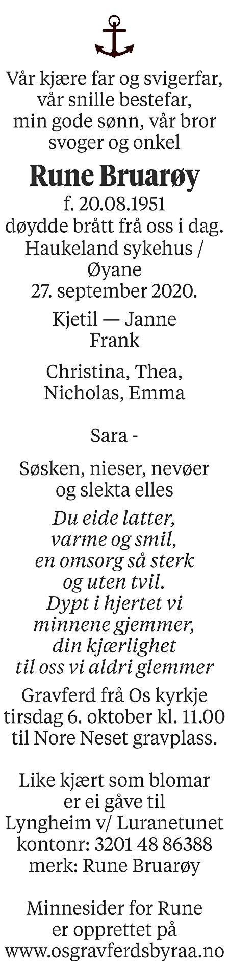Rune Bruarøy Dødsannonse
