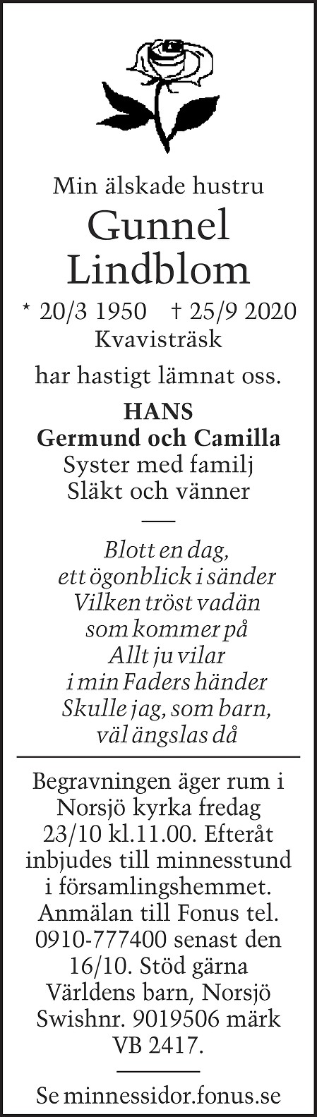 Gunnel Lindblom Death notice