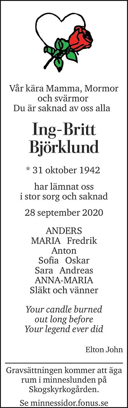 Ing-Britt Björklund Death notice