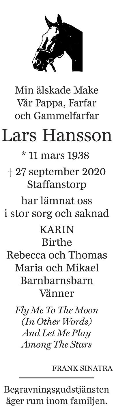 Lars Hansson Death notice