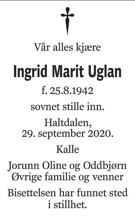 Ingrid Marit Uglan Dødsannonse