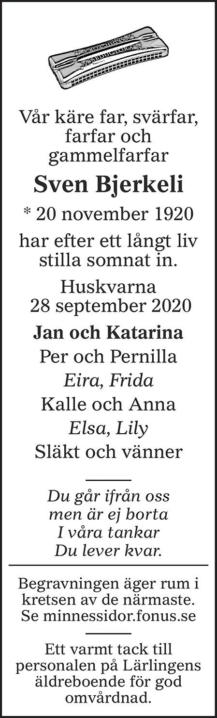 Sven Bjerkeli Death notice