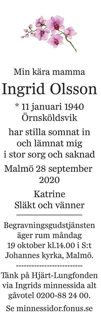 Ingrid Olsson Death notice