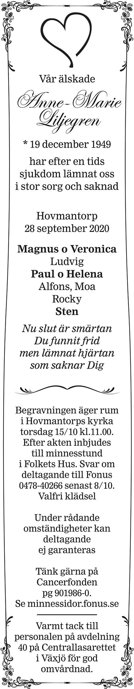 Anne-Marie Liljegren Death notice