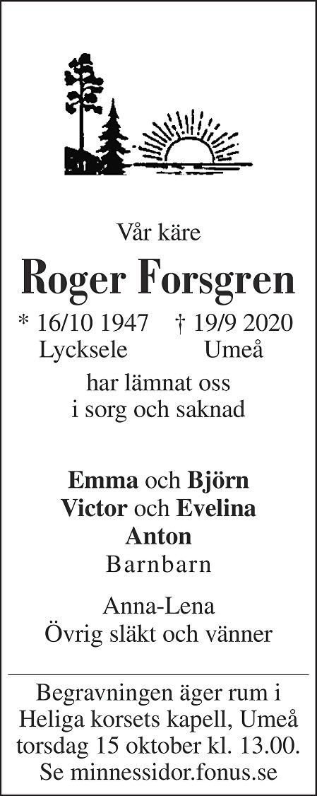 Roger Forsgren Death notice