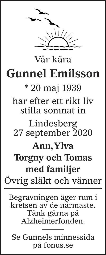 Gunnel Emilsson Death notice