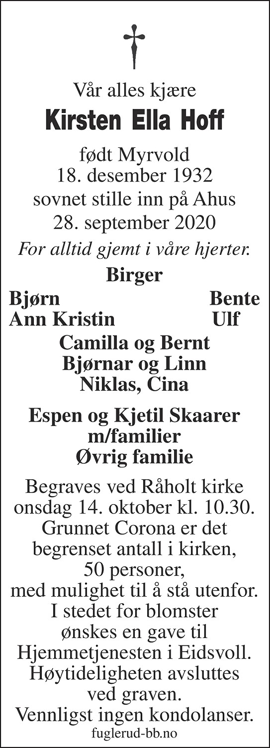 Kirsten Ella Hoff Dødsannonse