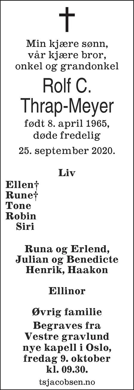 Rolf Christian Thrap-Meyer Dødsannonse