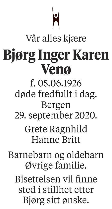 Bjørg Inger Karen Venø Dødsannonse