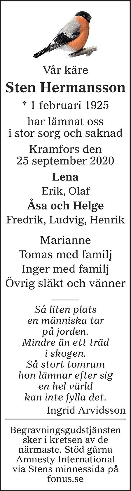 Sten Hermansson Death notice