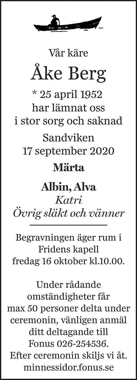 Åke Berg Death notice